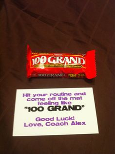 """Good luck cheerleading competition gift to team. """"Hit your routine and come off the mat feeling like 100 grand"""""""