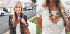 Skinnies, #lace #peplum, ankle boots and a jacket + our Sweet Clementine Bib = cutest fall outfit by @natalie lynn borton!
