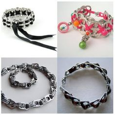 Soda tabs by vegaschick Can Tab Bracelet, Ribbon Bracelets, Beaded Bracelets, Soda Tab Crafts, Can Tab Crafts, Pop Top Crafts, Soda Tabs, Pop Cans, Homemade Jewelry