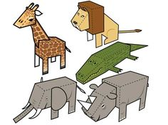 Here are 5 simple Animal Paper Toys, Giraffe, Lion, Alligator, Elephant and Rhino, the papercrafts are created by Paper Foldables. You can download these p