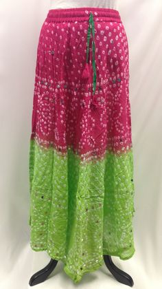 Bandhani Tie-Dye Skirt from Jaipur with Large Sequins Pink & Parrot Green