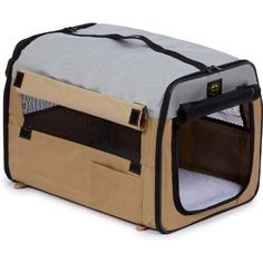 Pet Life Folding Zippered Easy House Carrier in Khaki  Large *** To view further for this item, visit the image link.