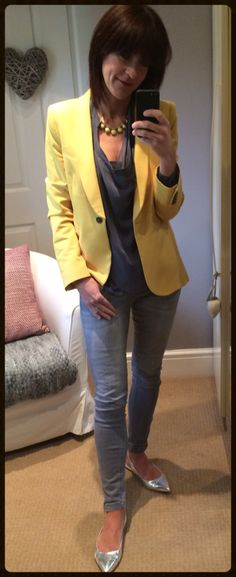 Grey draped blouse with skinny jeans, metallic pointed slingbacks & yellow blazer. Full details including where to shop my style at www.mymidlifefashion.com