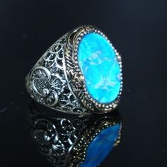 Turkish Handmade Ottoman 925K Sterling Silver Turquoise Men's Ring Size 10,11,12  | eBay