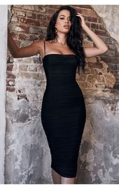 It's cut from our luxurious gathered organza mesh that's slightly sheer and features delicate spaghetti straps. Black Bodycon Dress Outfit, Bodycon Dress Formal, Casual Dress Outfits, Classy Outfits, Fashion Outfits, Tight Dresses, Cute Dresses, Mesh Dress, Dress Up