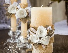 Rustic Unity candles / Rustic Chic Wedding / with rope lace