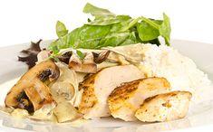 [Recette coup de 💗] Escalope de dinde à la crème, riz et champignons poêlés   #escalope #dinde #champignons #riz #recettesimple #recettefacile #recetterapide Camembert Cheese, Meat, Chicken, Food, Turkey Breast, Mushroom Rice, Essen, Meals, Eten