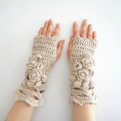 Elegant Rose Arm Warmers, Ivory hand warmers, Ivory rose hand warmers,... ($43) ❤ liked on Polyvore featuring accessories, gloves, ivory gloves, merino wool gloves, rose gloves, white winter gloves and merino arm warmers