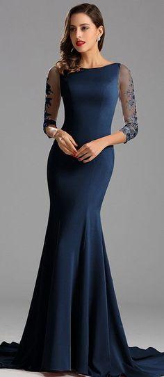 eDressit Graceful Half Sleeves Blue Formal Dress