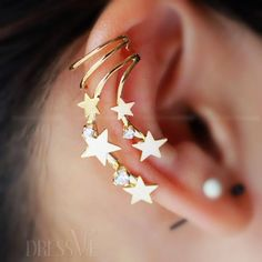 New Arrival Golden Pentagonal Stars Fashion Women's Ear Bones Clip Earrings