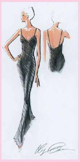 """Cassini Sheath Gown design. The """"Sheath"""" is a term used to reference the fit of a gown to the sheath of a sword. This is one of the most dramatic silhouette choices."""