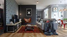 Sala de tv cinza e moderna