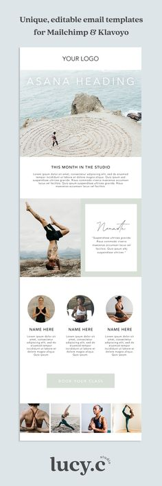 $49 - ASANA - For yogis and wellness services. Customisable PSD photoshop template. Easy to follow instructional video tutorial on how to edit and set up your template in Mailchimp or Klaviyo. Absolutely no coding required! | mailchimp newsletter design, Klaviyo newsletter design, mailchimp template, klaviyo template, mailchimp email design, mailchimp email, mailchimp tips, email templates, email design templates, email newsletter template, design templates