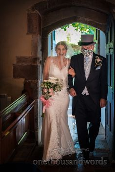 Bride and father of the bride wearing a covid mask enter church wedding ceremony through arched doorway. Image by one thousand words. Church Wedding Ceremony, Father Of The Bride, Doorway, Image, Entrance, Entryway, Church Weddings, Welcome Door, Doors