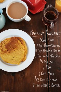 pumpkin pancake ingredients for Thanksgiving morning from Classic Play