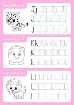 Handwriting Worksheets For Kids, Alphabet Tracing Worksheets, Alphabet Coloring Pages, Tracing Letters, School Worksheets, Writing Activities, Preschool Activities, Writing Practice For Kids, Pre Writing