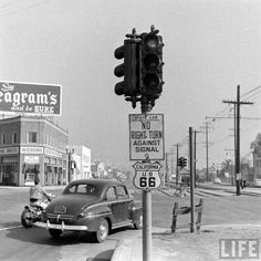 Route 66 at Doheny and Santa Monica. Circa 1946 And just look at those Pacific Red Car Rails! Today the Troubadour and Dan Tana's would be on the north side of the street. And the empty tracks have become an island filled with eclectic street art.