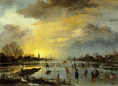 Winter Landscape c.1660 Aert van der Neer b. 1603 d.1677. Dutch landscape painter. Oil on panel. On view at the Gemäldegalerie Berlin.