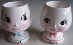 "Brandy snifter-shaped vintage 1950s Enesco ""His"" and ""Hers"" egg cups."