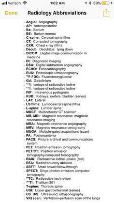 Radiology abbreviations. Radiology Schools, Radiology Student, Radiology Imaging, Medical Imaging, Veterinary Radiology, Radiology Humor, Veterinary Medicine, Medical Students, Nursing Students