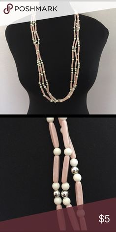 Pink and white necklace All necklaces are in good vintage condition. may need a cleaning. All vintage jewelry items may have slight color discrepancies and/or signs of wear. Jewelry Necklaces
