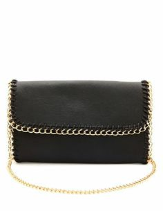 Chain Trim Faux Leather Clutch: Charlotte Russe