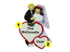 Personalized 1st Married Christmas Wedding Ornament - Male Blonde Hair/Female Brown Hair