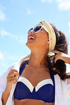 Retro at the beach Summer Blues, Nautical Fashion, Shades Of Blue, Maui, The Hamptons, Bikinis, Swimwear, Destinations, Retro