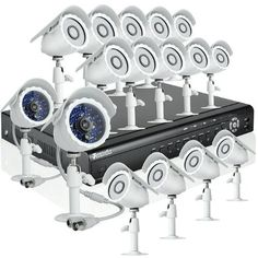 Zmodo 16CH Video Surveillance DVR Security Surveillance Camera System With 16 Outdoor Night Vision IR Camera Without Hard Drive by ZMODO. $375.99. Overview This complete video surveillance system provides everything you will need to protect your home or business, safeguard your loved ones, and deter intruders. The system includes a state-of-the-art 16 channel H.264 DVR with 16 weatherproof day/night cameras, and allows for the simultaneous viewing and recording of 16 video st...