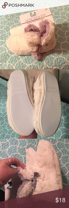Aerosols slipper booties Soft furry slip on house shoes with thick sole, brand new never worn AEROSOLES Shoes Slippers