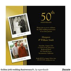 Golden 50th wedding Anniversary Party Invitation Plus 2 Photos Card. Elegant customized invitation template. We invite you to add your photos and wedding anniversary celebration details online to see if it's right for you. Years of anniversary are also customized.