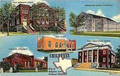 Childress Texas TX 1943 High School Churches Auditorium Antique Vintage Postcard