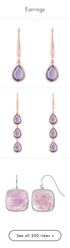 """""""Earrings"""" by madelenmyrberg ❤ liked on Polyvore featuring jewelry, earrings, birthday crown, earring jewelry, amethyst jewelry, pink gold earrings, rose gold amethyst earrings, amethyst drop earrings, triple hoop earrings and hoop earrings"""