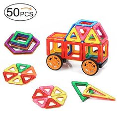 Quadpro Magnetic Building-Blocks 48 Pieces 2 Pieces car wheels, A total of 50 PCS,DIY magnets building blocks Educational toys Kit for Kids * You can get additional details at the image link.