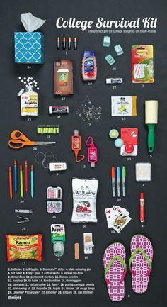 29 things college kids should bring to the dorm – create this College Survival Kit for your favorite student! 29 things college kids should bring to the dorm – create this College Survival Kit for your favorite student!