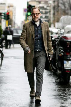 casual autumn: denim jacket under a coat