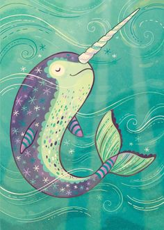 Narwhal Art: Happy swimming narwhal illustration by annibetts Narwhal Drawing, Illustration Mignonne, Unicorns And Mermaids, Ocean Creatures, Arte Pop, Illustrations, Under The Sea, Painted Rocks, Things To Draw