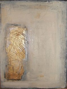Abstract Contemporary Art original modern metallic gold and silver with neutral colors 12 x 16 canvas panel. $150.00, via Etsy.