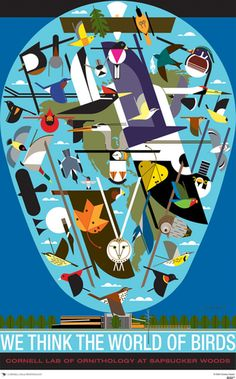 Charley Harper large poster - We think the world of birds