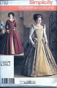Misses Elizabethan Tudor Queen Costumes Pattern. Simplicity 3782 is uncut and in factory folds. Sizes 14, 16, 18 and 20 which will fit a 36-42 bust.