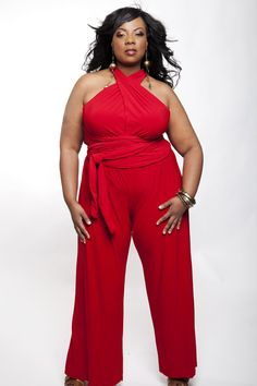 red plus size criss cross halter top jumpsuit jumper Christmas Holiday Style Plus Size Romper, Plus Size Jumpsuit, Plus Size Dresses, Plus Size Outfits, Red Jumpsuit, Curvy Girl Fashion, Plus Size Fashion, Womens Fashion, Modelos Plus Size