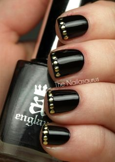 This is edgy and classy at the same time! It's also easy and ideal for short nails. Dots of gold polish cups be substituted for the gold studs too. :)