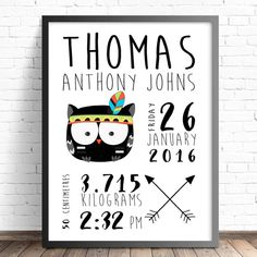 Personalised Tribal Birth Announcement. Nursery or Bedroom Wall Art Decor Printby TheKidsPrintStore