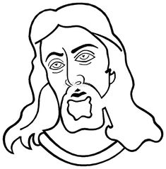 coloring cartoon Easter face | face jesus colouring pages