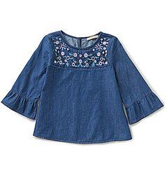Copper Key Little Girls 46X EmbroideredYoke Woven 34Sleeve Top #Dillards