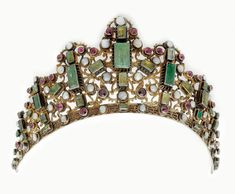 Exceptional Diadem (Tiara) from Transylvania, 19th century silver gilt with pearls, red color stones and Austrian Habachtal emeralds.