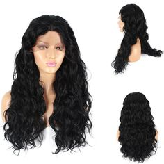 Life Diaries 250�nsity Lace Front Synthetic Wig Long Natural Wave 10%Human Hair 90%Heat Resistant Fiber Wig Nature Color With Baby Hair For Women(22,black) * This is an Amazon Affiliate link. Check this awesome product by going to the link at the image.