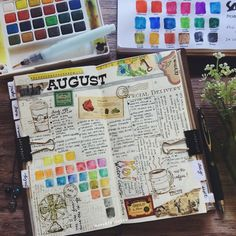Week 31: with new water color palette/swatch by Koi Sakura - the pocket field sketch box, 24 colors.