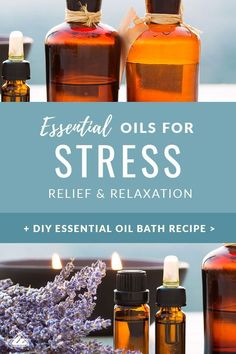 Top 5 Essential Oils for Stress Relief and Relaxation - Looking for natural stress remedies? Or just wishing you knew how to stop stress? Essential Oils For Migraines, Stress Relief Essential Oils, Essential Oil Uses, Natural Remedies For Stress, Natural Stress Relief, Relaxing Oils, Oil For Headache, Bath Recipes, Oil Recipe