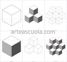 The cube: worksheets and 5 suggestions (Arte a Scuola) Geometric Drawing, Geometric Art, Drawing Projects, Art Projects, Isometric Drawing Exercises, High School Drawing, Value Drawing, Art Cube, Montessori Art